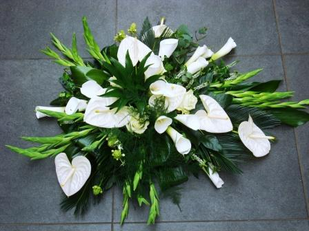 Wit Anthurium Calla Grafstuk
