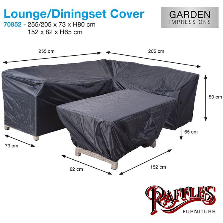Lounge / dining set L-vorm, langezijde rechts