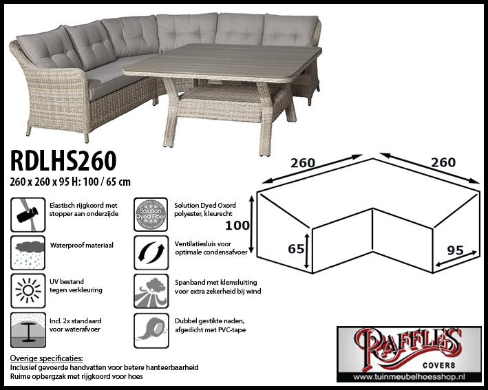 Lounge-diningset hoes voor hoekopstelling, past over een set van max. 255 x 255 cm.