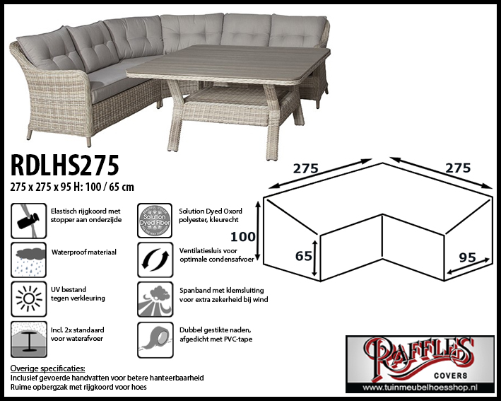 Lounge-diningset hoes voor hoekopstelling, past over een set van max. 270 x 270 cm.