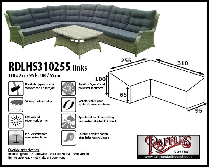 Lounge-diningset hoes voor hoekopstelling, past over een set van max.305 x 250 cm.
