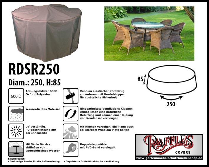 Abdeckung Gartenmöbel Schutzhülle für Sitzgruppe, rund Tisch mit 6