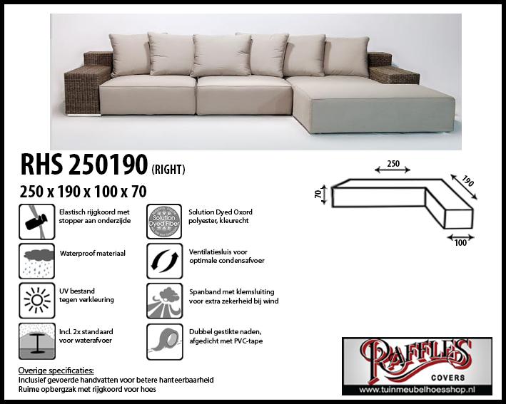 Loungesethoes voor hoekopstelling, past over een set van max. 245 x 185 cm. Ook geschikt voor set met trapezehoek.