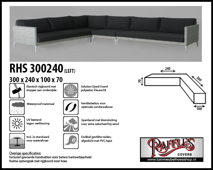 Loungesethoes voor hoekopstelling, past over een set van max. 295 x 235 cm. Ook geschikt voor set met trapezehoek.