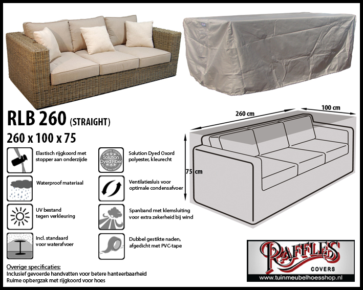 Hoes voor lounge bank, 260 cm.