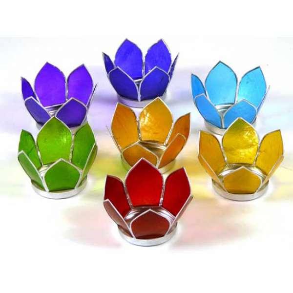 Lotus Capiz set Sfeerlichten 7 Chakra\'s zilver small