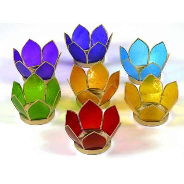 Lotus Capiz set Sfeerlichten 7 Chakra\'s goud small