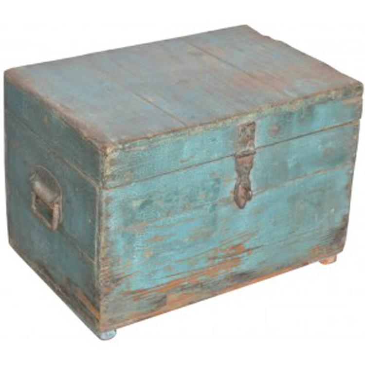 Houten opbergkist blauw