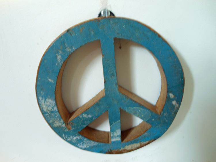 Peace teken blauw