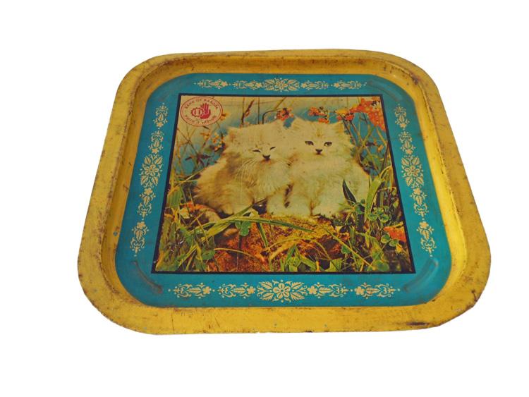 Vintage dienblad katten