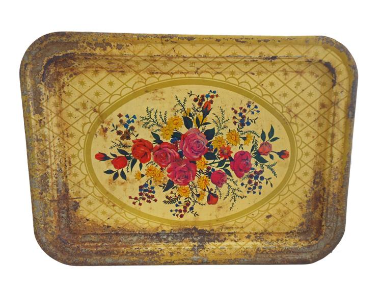 Vintage dienblad rozen