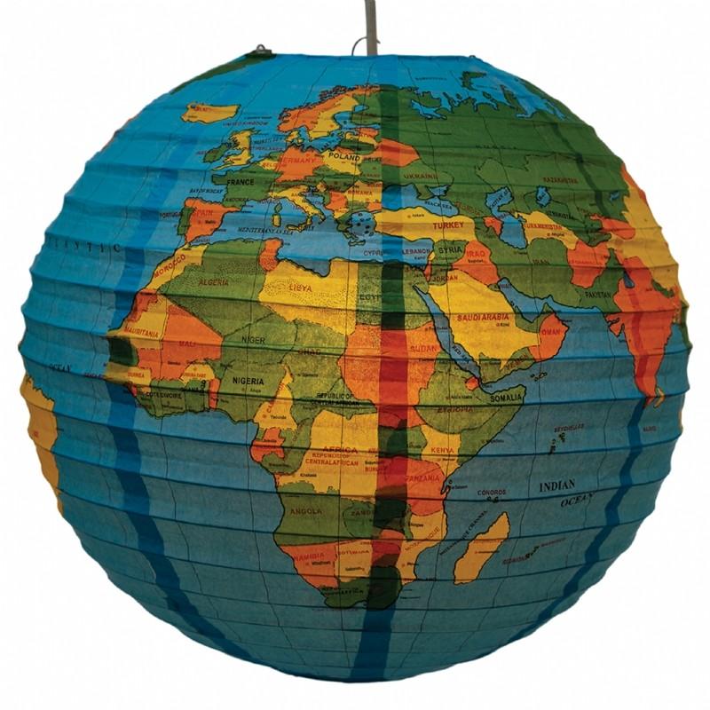 Papieren lantaarn wereldbol
