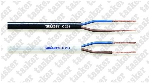 Tasker Stroomkabel230V    C261  2x0.75 Wit