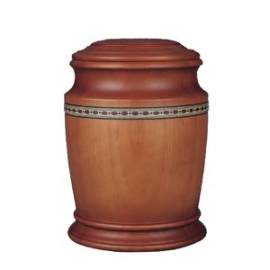 Houten Pot urn met sierband