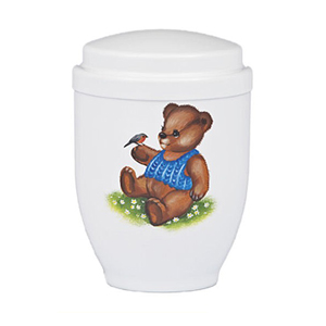 Kinderurn Teddy Beer (wit)
