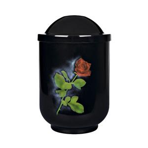 "Design urn ""Rode roos"" (zwart)"
