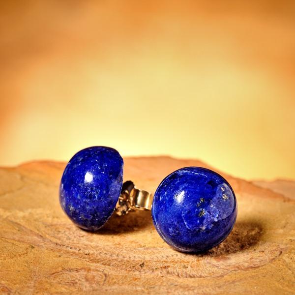 Basic Lapis Lazuli Oorstekers, rond