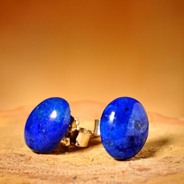 Basic Lapis Lazuli Oorstekers, ovaal