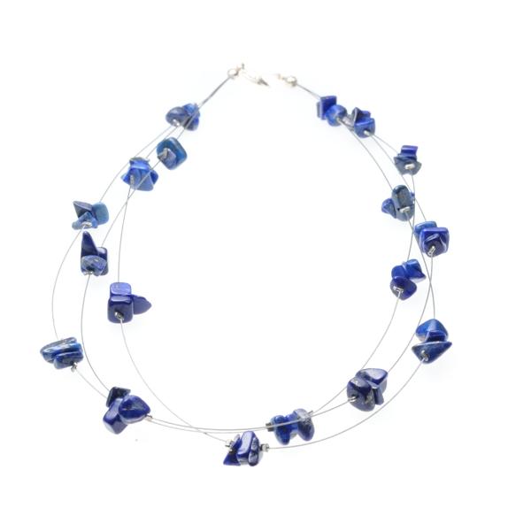 Lapis Lazuli Ketting op Metaaldraad Split