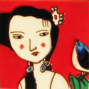 "Pureland <span style=""color: #dc143c;"">SALE!</span><br />tegeldoosje dame en vogel, rood</p>"