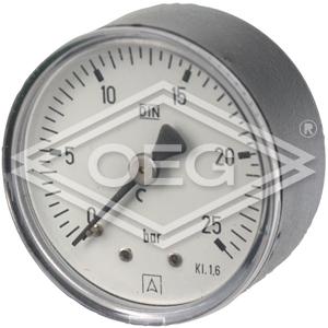 """Manometer 63 mm - 1/4"""" achter - 0-10 bar"""