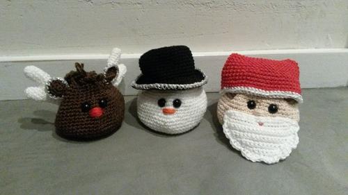 Haakpatroon cadeauzakje Kerstman, Sneeuwpop en Rendier