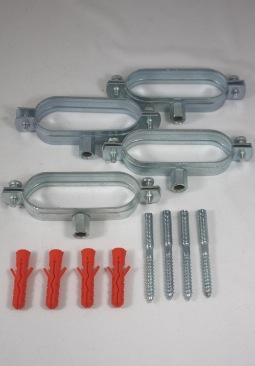 4 stuks ovale muurbeugels met stokschroeven voor DN16 RVS ribbelbuis