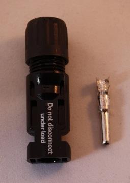 MC-4 stekker voor kabel 4-6mm2 (-) met buitendiameter 5,5 - 9mm