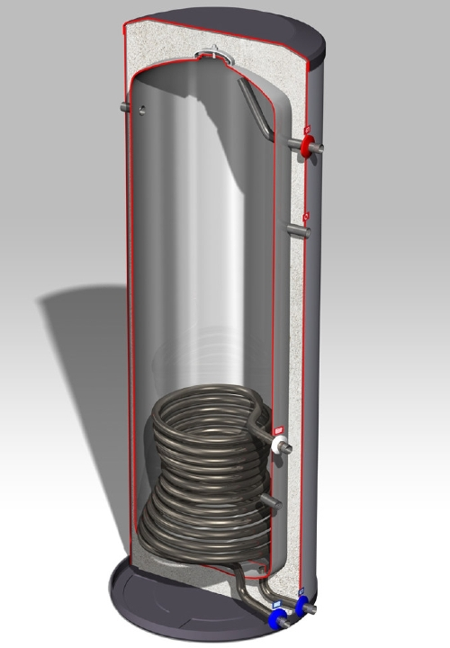 DJG rvs boiler 150L, staand, 1 warmtewisselaar
