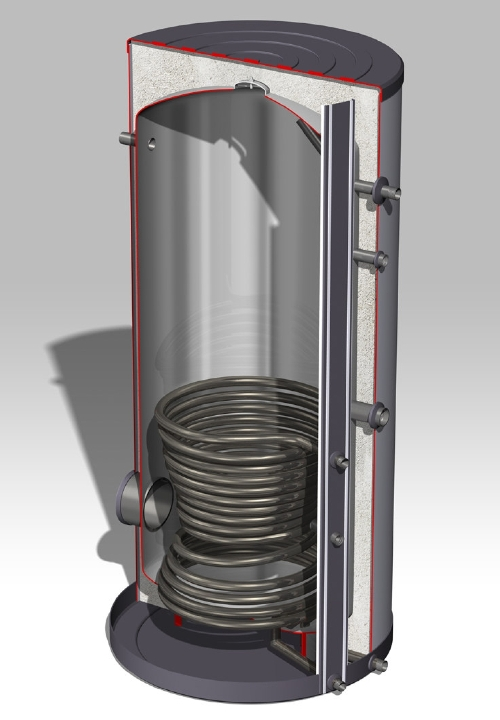 DJG rvs boiler-1000L-1ww-Staand, grijs