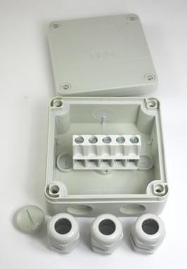 OBO kabel lasdoos IP67 met 3 wartels en 5-voudige kroonstrip