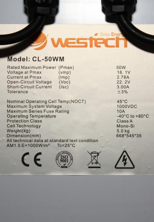 Westech CL-50WM 50Wp mono kristallijn zonnepaneel