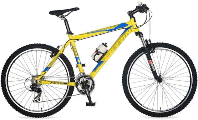 Gele mountainbike