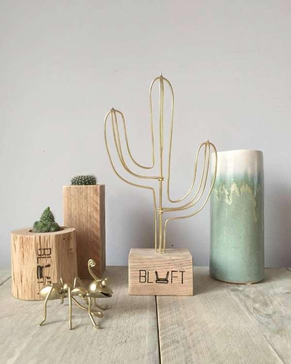 Cactus mini goud steigerhout