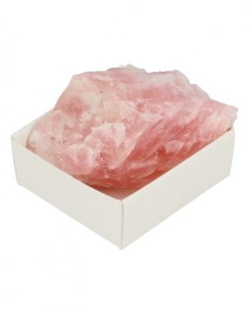 Roze kwarts ruw in doosje