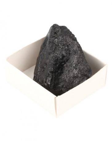 Toermalijn gekristaliseerd zwart ruw in doosje