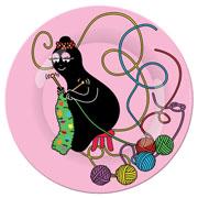Barbapapa plate pink Barbamama knitting (25cm)