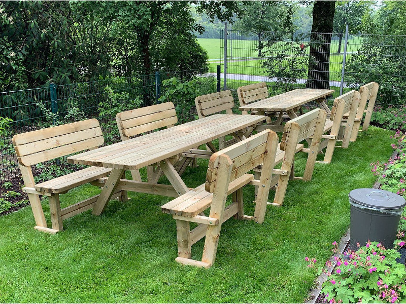 <BIG><B>PICKNICKTAFEL MASSIEF GRENEN  EASY SIT 2.40m/4.2cm dikte</B></BIG>