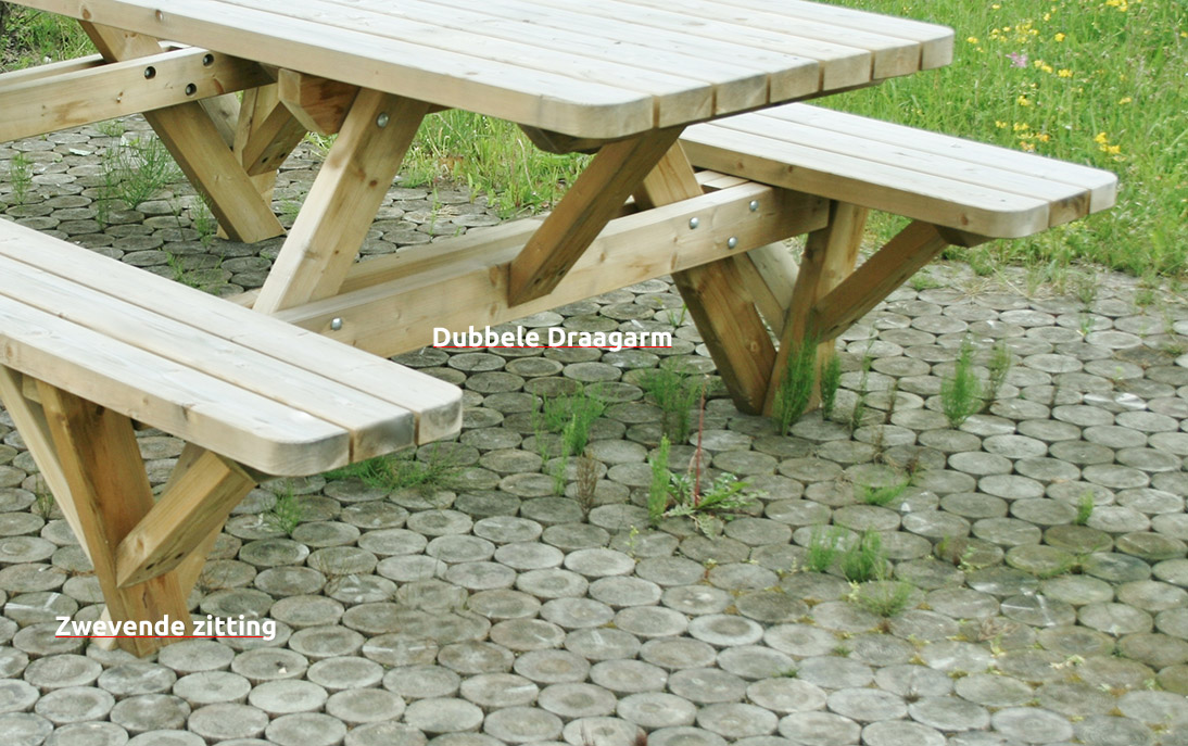 <BIG><B>PICKNICKTAFEL MASSIEF GRENEN  EASY SIT 2.40m/4.2cm dikte  EXTRA ZWAAR MODEL 2018</B></BIG>