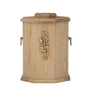 Houten Pot urn met Rozen