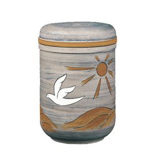 Keramische urn met motief