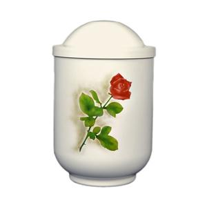 """Design urn """"Rode roos"""" (wit)"""
