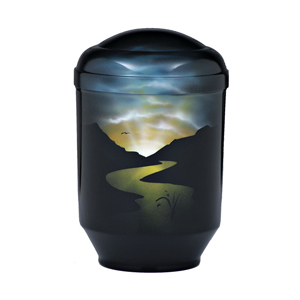 """Design urn """"Rivier bij nacht"""""""