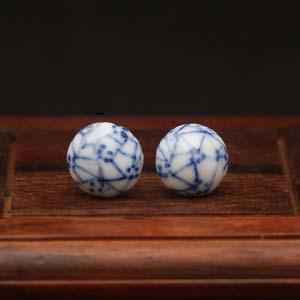 Zhao Dao<br />oorbellen met blauw raster</p>