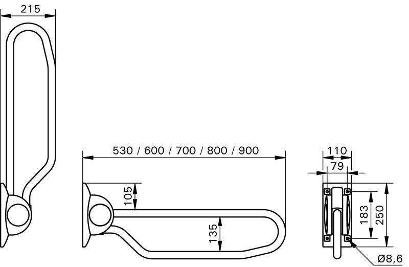 Toiletbeugel opklapbaar 80cm