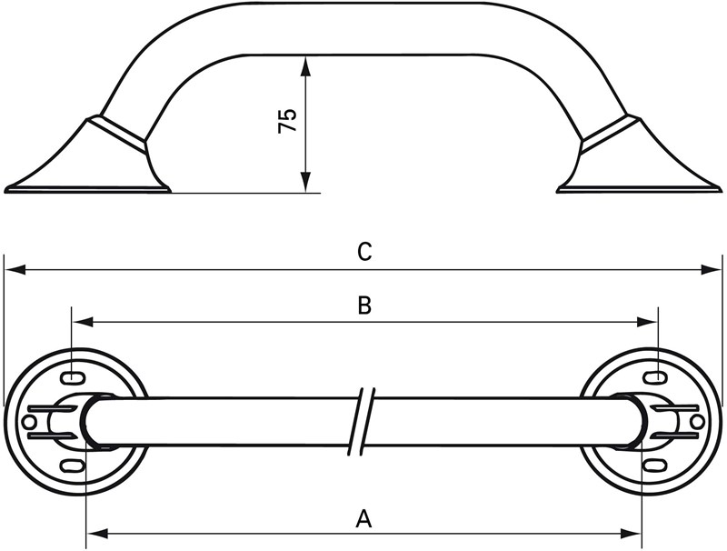 Wandbeugel 40cm - antraciet