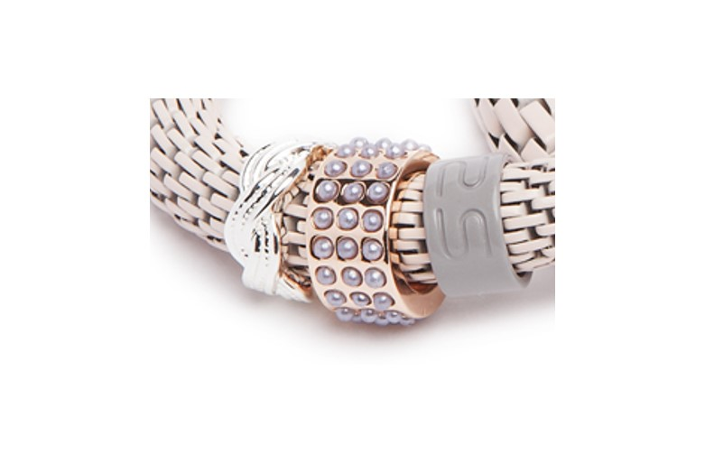 THE SNAKE STRASS BRACELET | CREAMY CREME & PEARL