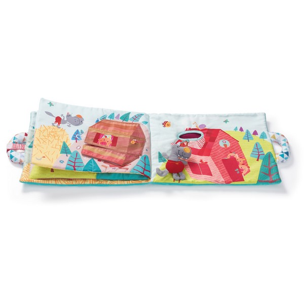 Babyboek stof wolf Nicolas en de 3 biggetjes