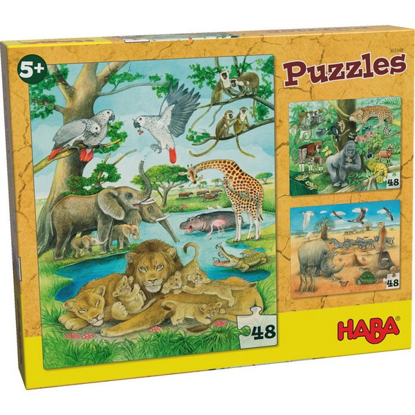 3-in-1-Puzzel Wilde Dieren in Afrika