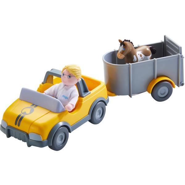 Little Friends Voertuig Diernartsauto met aanhangwagen